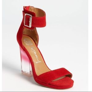 Jeffrey Campbell Soirée in Red Clear Silver